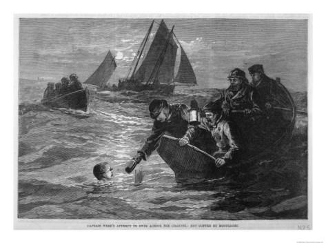 Capt. Matthew Webb made it across the English Channel using the breaststroke, with occasional feedings of beef tea and brandy.